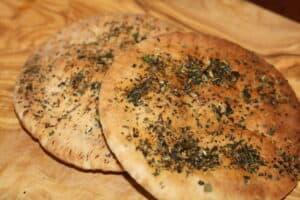 seasoned toasted pita for salad croutons.