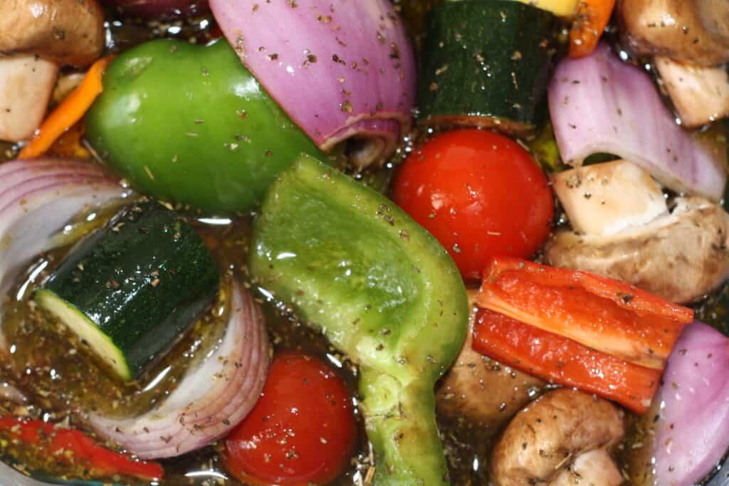 Marinating veggies for kabobs!