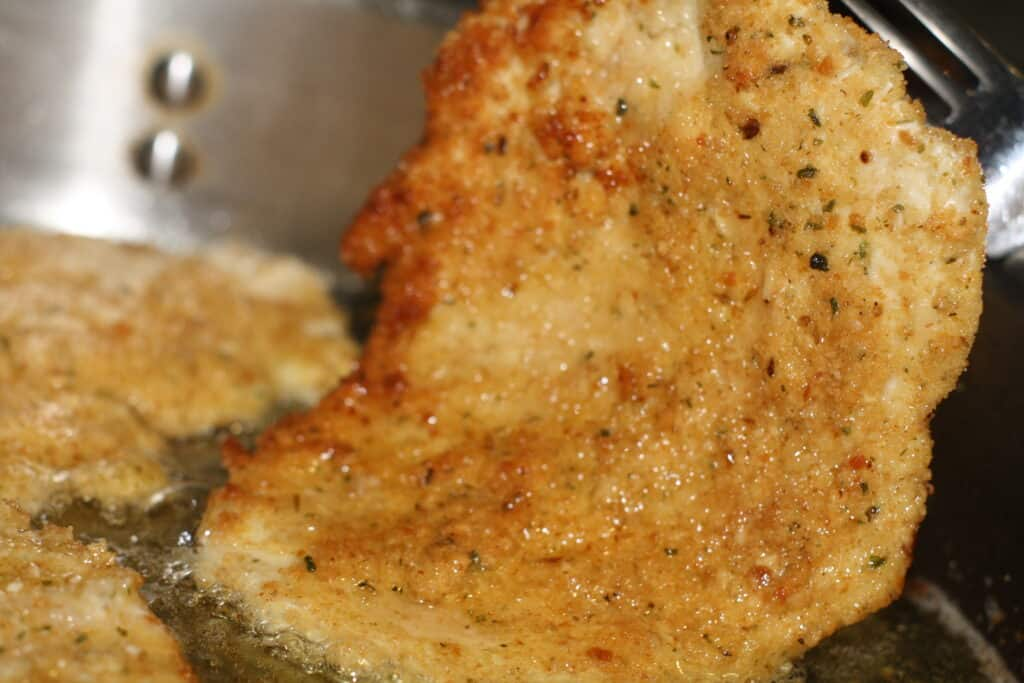 5 Ingredient Easy Chicken Cutlets in the frying pan