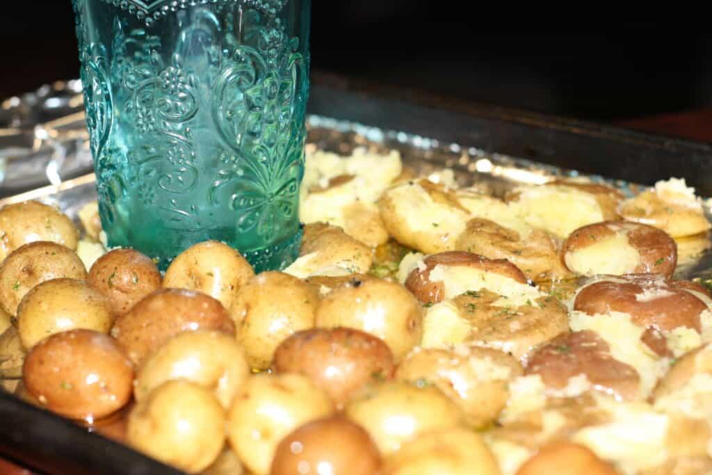 Smashing the baby potatoes