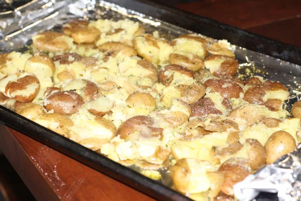 Smashed Baby Potatoes on a sheet pan