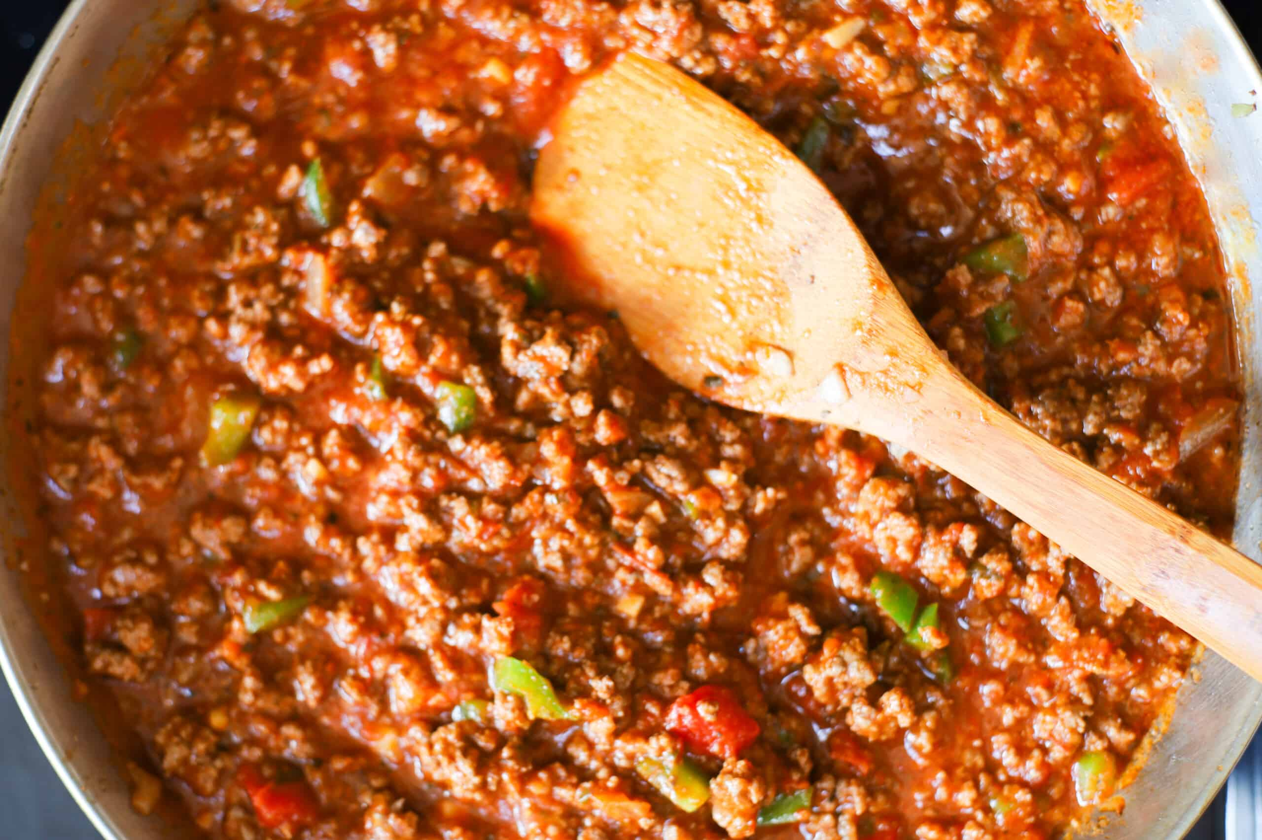 Old Fashioned Sloppy Joe sauce in the pan