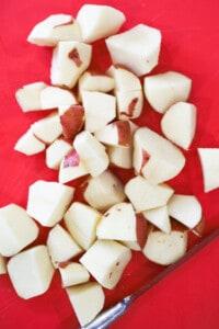 Red bliss potatoes quartered for potato salad