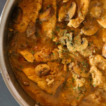 Easy Chicken Marsala in the pan before serving