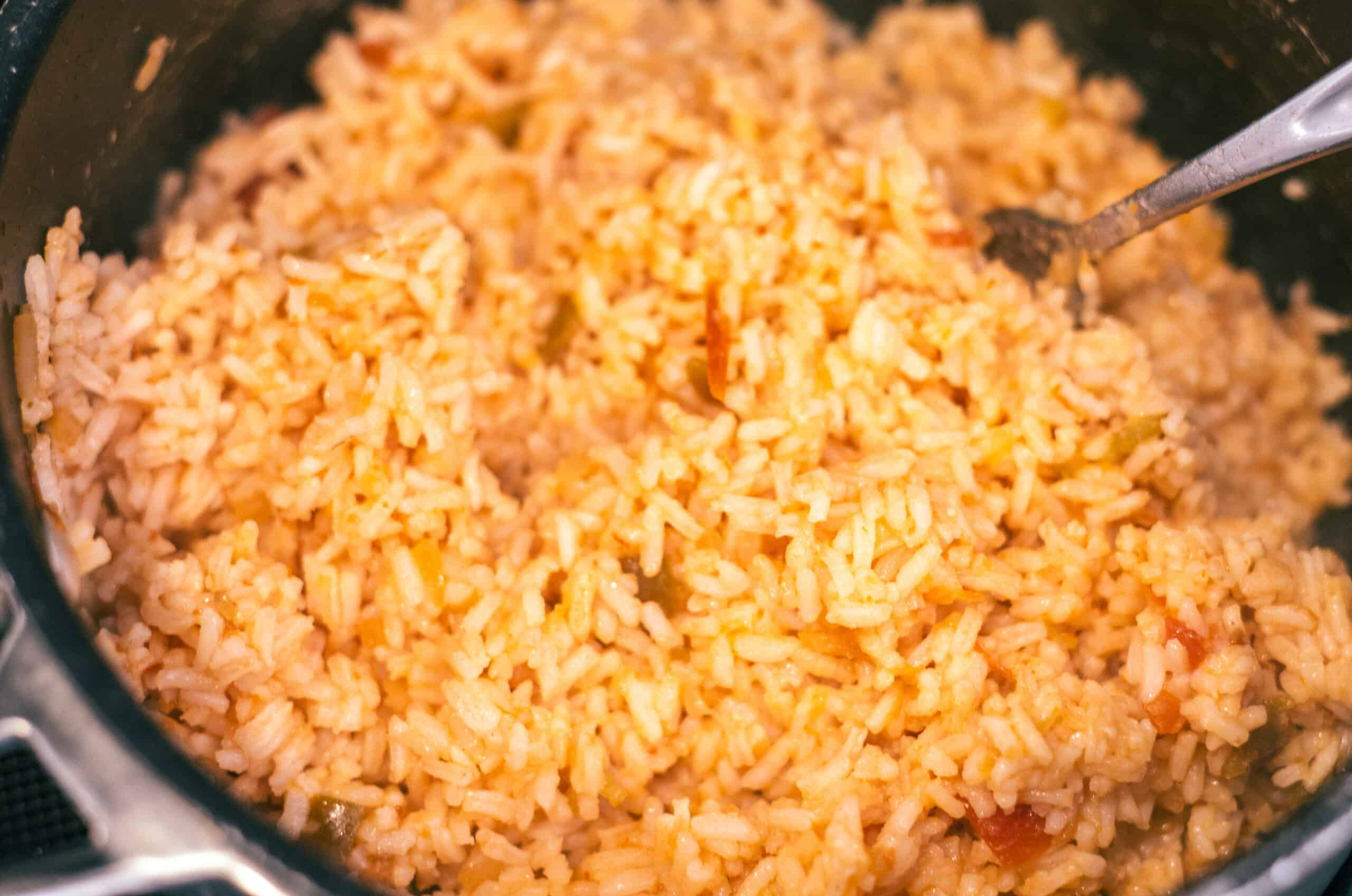 White Rice seasoned with salsa for flavor!