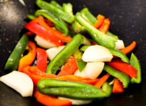 Fresh cut veggies for chicken fajita dinner