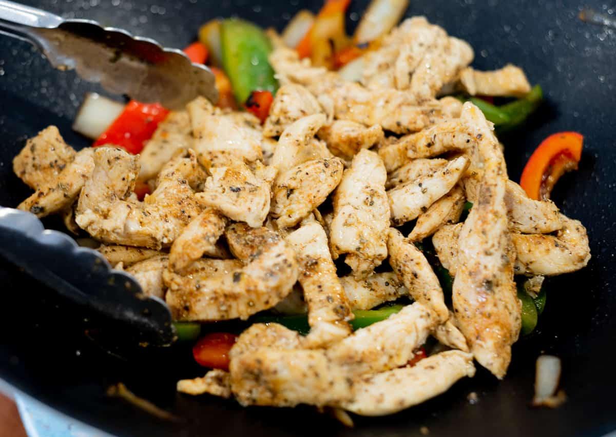 chicken fajitas weeknight meal in a skillet