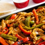 healthy chicken fajitas with all the fixings off to the side!